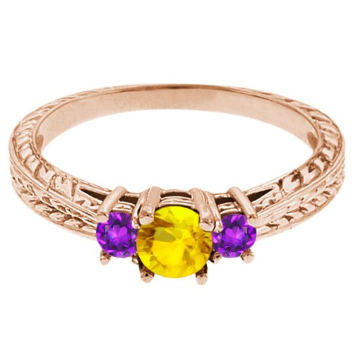 0.56 Ct Round Yellow Sapphire Purple Amethyst 14K Rose Gold 3-Stone Ring