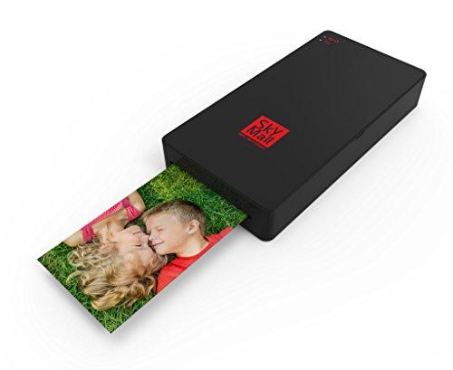 Imprimante mobile SkyMall NFC et Wi-Fi avec technologie d'impression par sublimation thermique et surcouche de protection des photos (noir)