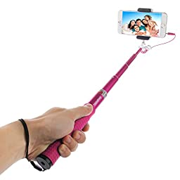 Selfie Stick, HAWEEL® Wired Extendable Handheld Selfie Monopod with Tripod Holder & Clamp Mount for iPhone 6, iPhone 6 Plus, iPhone 5 5s 5c, Android, Magenta