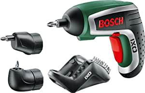 Bosch HomeSeries IXO Akkuschrauber 4. Generation, Winkel- und Exzenteraufsatz, 10 Standard-Schrauberbits, Ladegerät