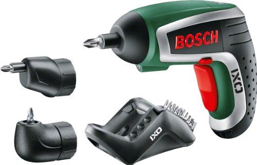 Bosch IXO HomeSeries Akkuschrauber + Winkel- und Exzenteraufsatz + 10 Standard-Schrauberbits + Ladegerät (30 % mehr Kraft, 0,3 kg, 3,6 V)