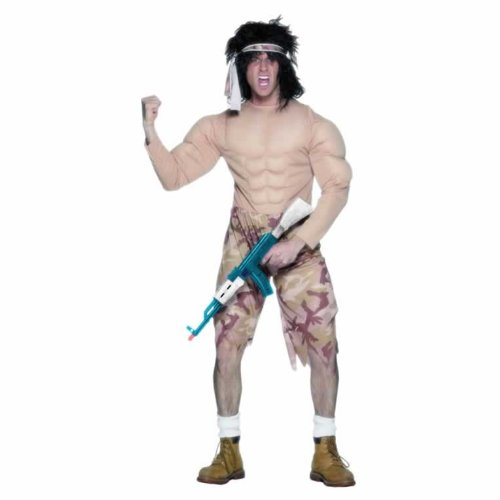 Smiffys Rambo/Muscleman Mens Fancy Dress Army Costume/Outfit -Medium