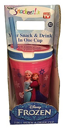 Snackeez Jr. in Red ~ Disney Elsa & Anna (2 in 1 Drink and Snack in One Cup) - 1