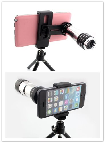 Big Dragonfly New Arrival Universal Mobile Phone Zoom Lens 12X Magnification Telephoto Lens With Mini Tripod,Holder And Two Black Protective Lens Caps 16 Degree Angle Of View For Iphone 5 5S Iphone 4 4S Samsung Galaxy S4 I9500 S3 I9300 Note3 Note2 Htc Nok