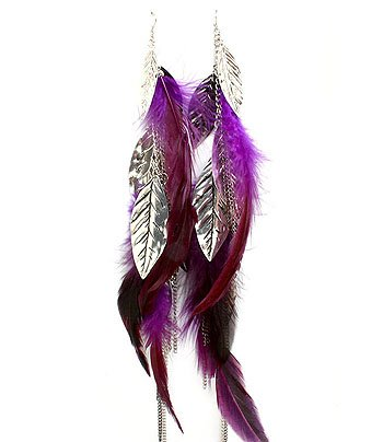 HOT XX-Long Purple Feather and Leaf Charm Tri-tone Chain Earrings