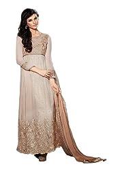 Fabdeal Festive Brown Floral Print Net With Jacquard Semi-Stitched Salwar(DVE2DR57TPDT_Brown)