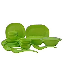 Incrizma Plastic Square Plate and Bowl Set, 32-Pieces, Lime Green