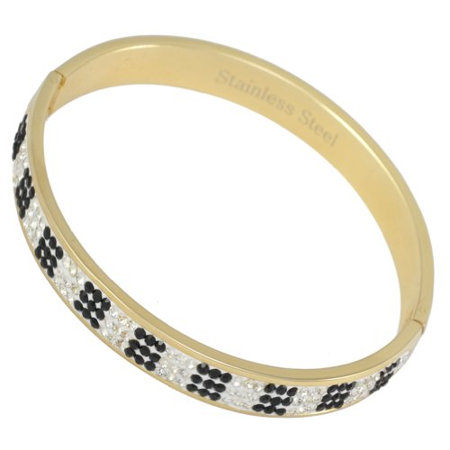 Kadima Stainless Steel Bangle Gold IP Plated With 3-Line Clear/Black Gemstone