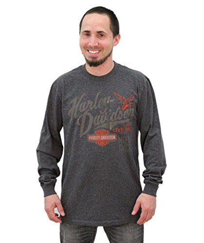 Harley-Davidson Mens Spark Plug Hidden Pocket Charcoal Long Sleeve T-Shirt - XL