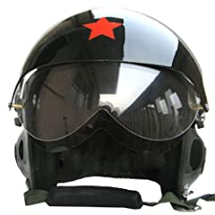 NuoYa001 Collectable CHINESE MILITARY AIR FORCE Jet Pilot Flight Helmet Open Face Black by NuoYa