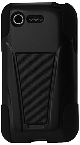 Reiko Silicon Hard Hybrid Kickstand Case For Lg Optimus Fuel L34C/Lg Optimus Zone 2 Us Carrier Verizon, Straight Talk - Retail Packaging - Black front-17470