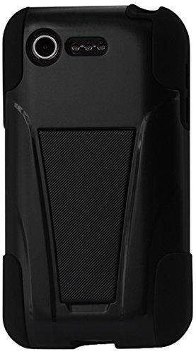 Reiko Silicon Hard Hybrid Kickstand Case For Lg Optimus Fuel L34C/Lg Optimus Zone 2 Us Carrier Verizon, Straight Talk - Retail Packaging - Black front-17470