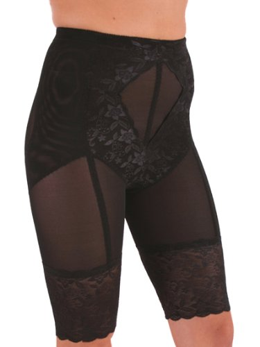 Black Panty Shaper Girdle Long Leg Slimming Lace trim S M L or XL