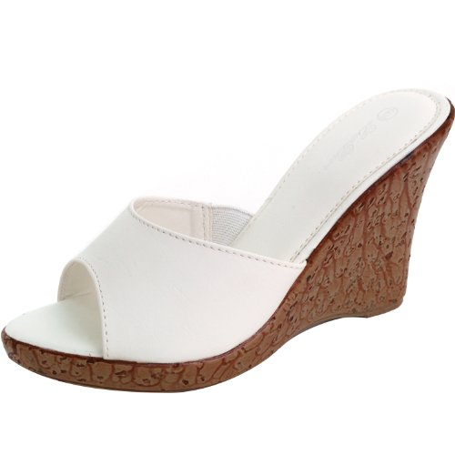 """Luo Luo Womens Wedge Heel Mules Faux Leather 4"""" Platform Sandals,White,7.5"""