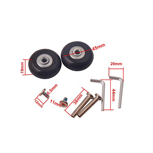 Airkoul Black Luggage Suitcase / Inline Outdoor Skate Replacement Wheels with ABEC 608zz Bearings (45X19mm)