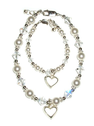 Mom and Me, Mother & Daughter, Pearl w/Crystal (Hearts Entwined). Baby Bracelet size Small 0-12 Months