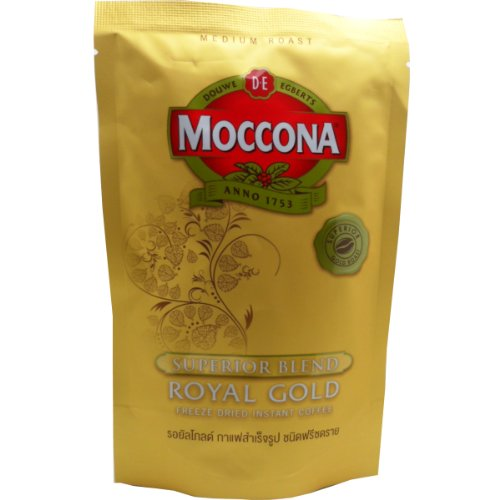 Moccona Royal Gold Freeze Dried Instant Coffee 100% Smooth Coffee Taste and Aroma Net Wt 50 G (1.76 Oz) X 4 Bags