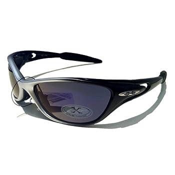 X-Loop Lunettes de Soleil - Sport - Cyclisme - Ski - Conduite - Moto - Plage / Mod. 1170 Gris Noir Spectrum Bleu / Taille Unique Adulte / Protection 100% UV400