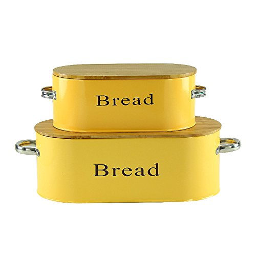 2 Set Yellow Vintage Bread Bin With Bamboo Lid - Perfect Fit for Large and Medium size loafs of Bread - Storing and organizing fresh bread - Bread Box (Bread Enamel compare prices)