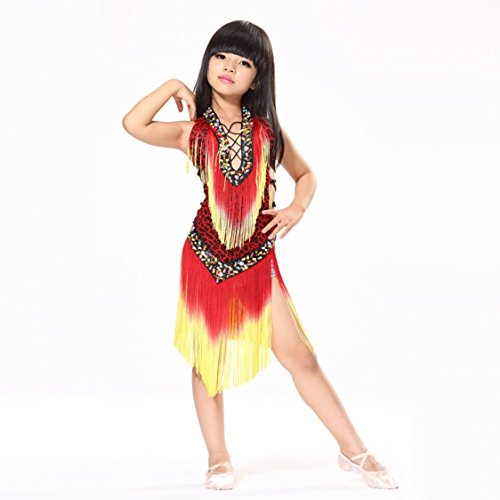 Pilot-trade Kid's Leopard Latin Dance Samba Salsa Dresses Dance Costumes Red