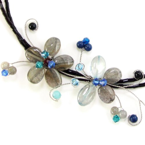 MGD, Grey Smoky Quartz Flower and Tourmaline Butterfly Choker Necklace, 'Kissing The Flower'