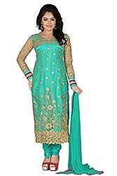JHEENU Turquoise Women's Net and Faux Georgette unstitched Straight Salwar Su...