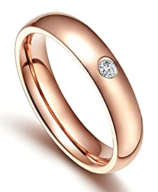 buy Mens Womens Stainless Steel Rings Comfort Fit Classic Wedding Bands Rose Gold 4Mm Cz Size 5 - Adisaer