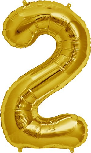 Number 2 - Gold Helium Foil Balloon - 34 inch