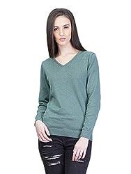 Kalt Women's Cotton Sweater (W116 GM M _Medium_Green Melange)