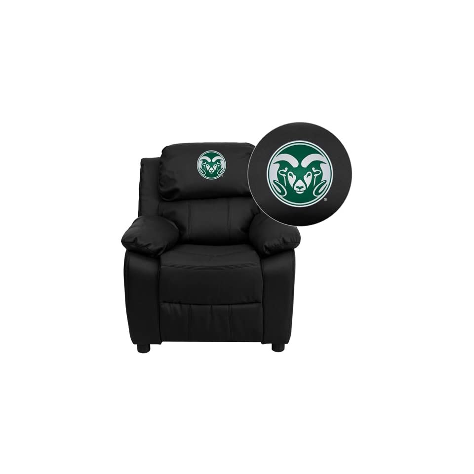 Flash Furniture Wichita State University Shockers Embroidered Black Leather Kids Recliner with Storage Arms