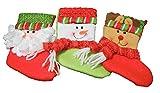 クリスマス ブーツ オーナメント 3点 セット 靴下 ツリー 飾り サンタ トナカイ 雪だるま (タイプA)