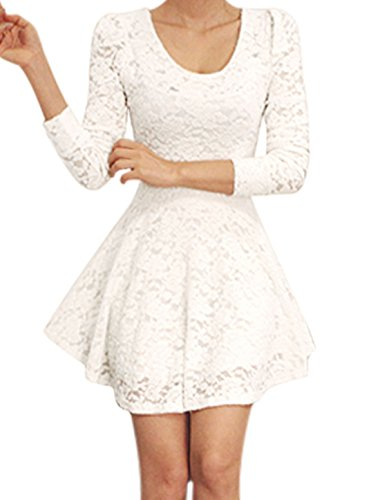Allegra K Ladies Scoop Neck Pullover Casual Mini Lace Skater Dresses White M