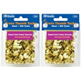 BAZIC Brass Thumb Tack, Gold, 200 Per Pack, 2 Pack (400 tacks)