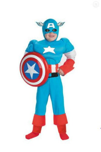 Captain America Dlx Muscle 4 6 Kids Boys Costume