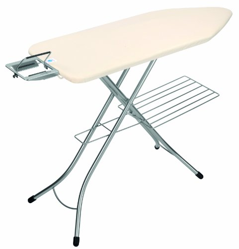 Brabantia Ironing Board with Steam Iron Rest and Linen Rack, Size C, 124 x 45cm, 25mm Chrome Painted Frame, Ecru Cover