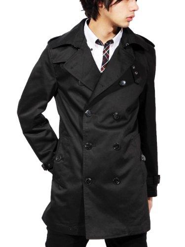 トレンチコート アウター ジャケット (L, ブラック)