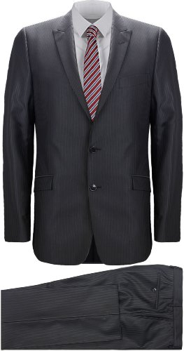 Versace Black Pinstripe Wool Suit (UK 40 / EU 50)