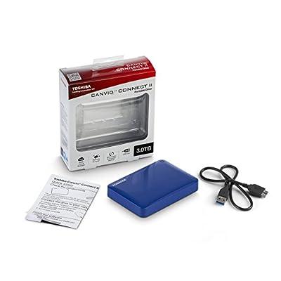 Toshiba Canvio Connect II 3TB Portable Hard Drive, Blue (HDTC830XL3C1)