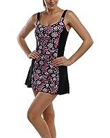 La Isla Women's One Piece Floral Print Swimsuit Swimwear Beachwear with Skirt