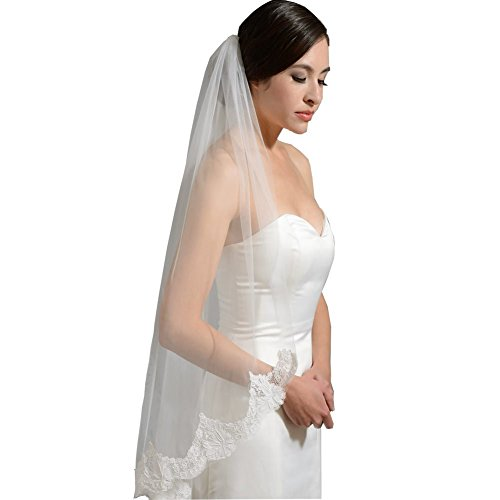 GEORGE BRIDE One layer Lace Bridal Veil with Comb wedding headpieces (white)