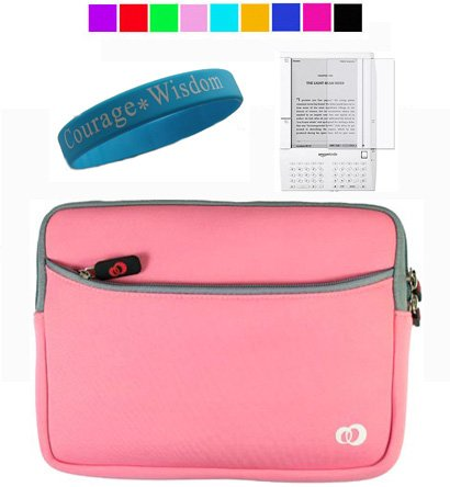 Amazon Kindle 2 Carrying Case Sleeves + Wisdom*Courage Wristband + Screen Protector (Baby Pink)
