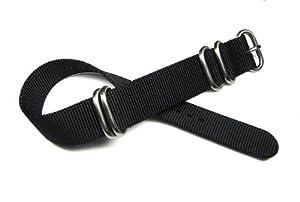 97b0e90833c 20mm Zulu 4 Ring Black Nylon Watch Band Strap