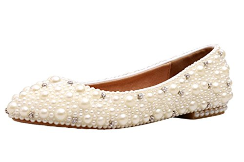 Minitoo MZLL030 Women's Fashion Comfortable Handmade Pearl Ivory Satin Wedding Party Evening Prom Flats 9.5 M US