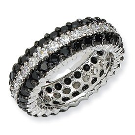Genuine IceCarats Designer Jewelry Gift Sterling Silver Black/White Cz Eternity Ring Size 8.00