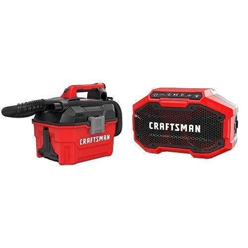 CRAFTSMAN V20 Cordless Shop Vac, 2 Gallon, Wet/Dry with Bluetooth Speaker, Tools Only (CMCV002B & CMCR001B)