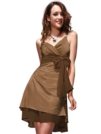 Ever-Pretty Sexy V-neck Bow Diamante Cocktail Dress 03022, HE03022BR08, Brown, 6US