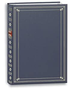 Pioneer Photo 200-Pocket Post Bound Bay Blue Leatherette Photo Album with Gold Accents for 4 by 6-Inch Prints