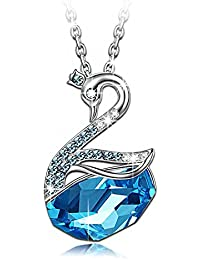 Valentine Gifts: Carina Sea Blue Swan Swarovski Elements Crystal Pendant Necklace For Women And Girls