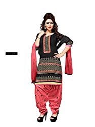 Banorani Womens Unstitched Salwar Suit Dress Material (Pp-1106 _Black & Pink _Free Size)
