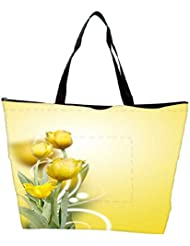 Snoogg Beautiful Yellow Tulips Background Waterproof Bag Made Of High Strength Nylon